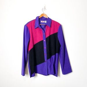 Vintage 1990s Patchwork Purple Abstract Shacket Button Up Top